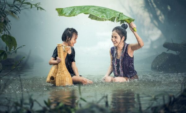 woman, kid, rain