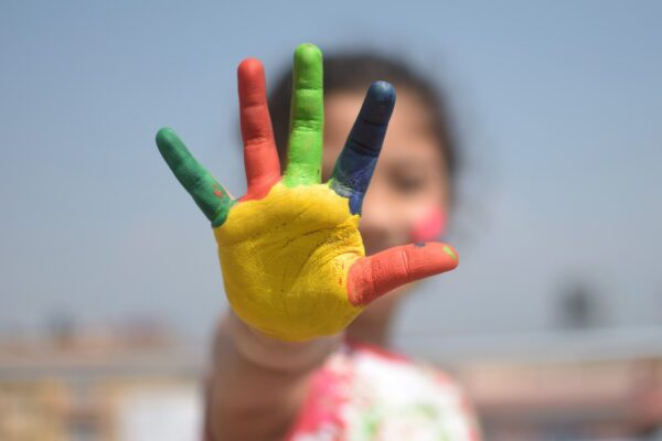 colorful, five fingers, kid